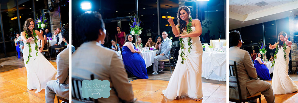 Jen performing a hula dance for her new husband, Kevin.