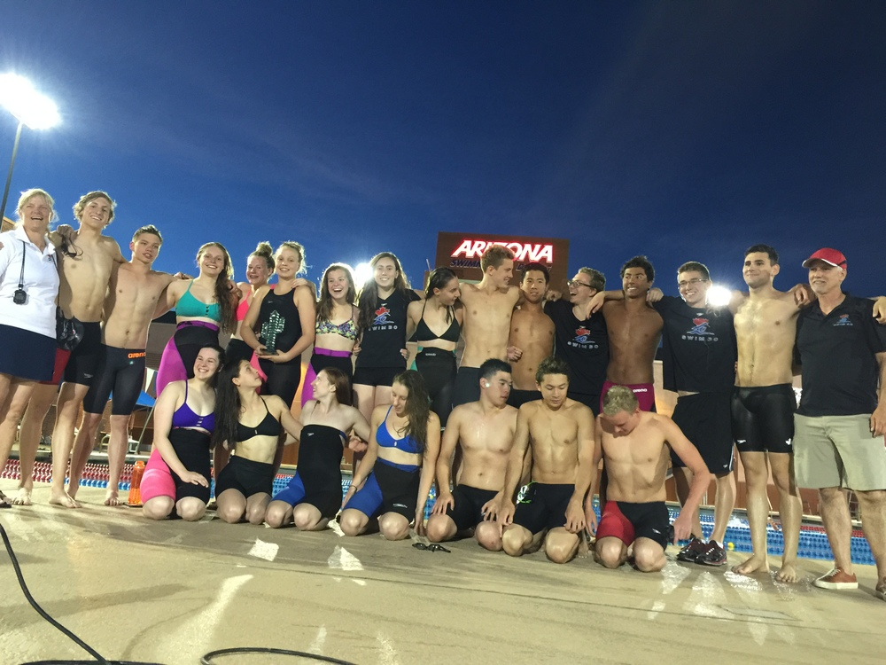 TeamBC swimmers after winning the 2015 Southwest Classic in Tucson, AZ