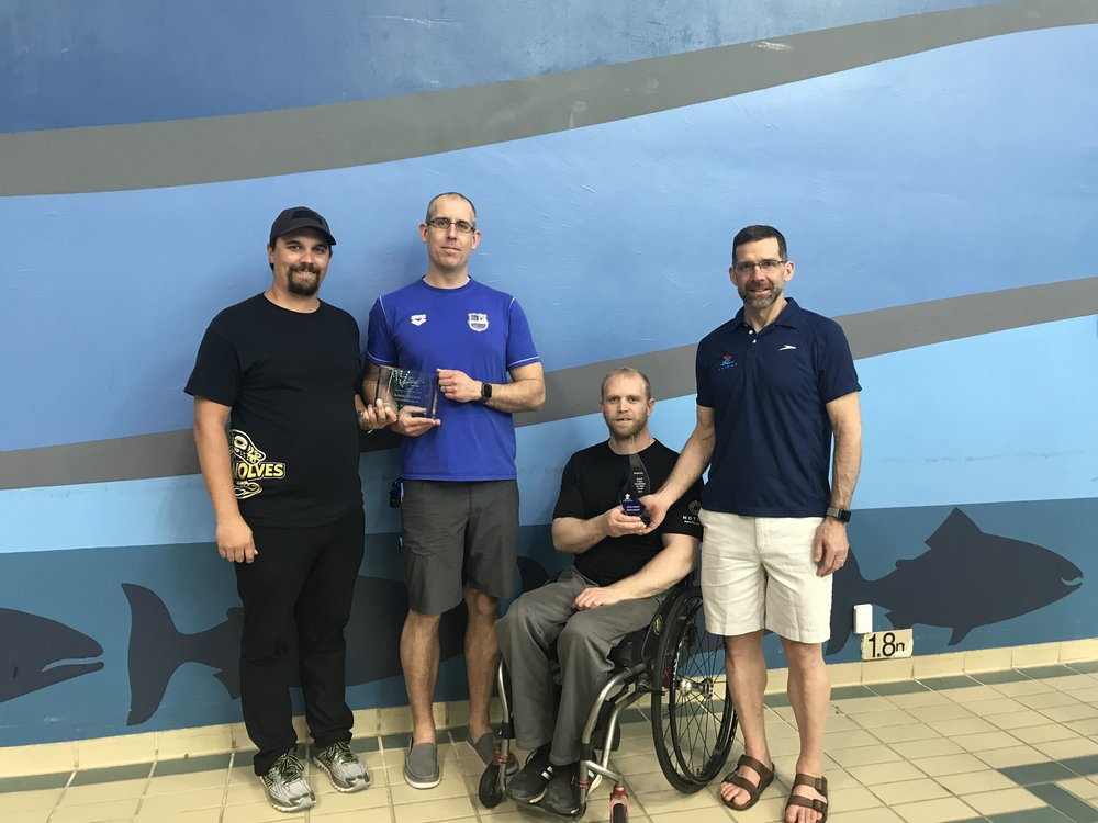 L to R: Darryl Rudolf (BCSCA), Rob Pettifer, Jonathan Dieleman and Mike Flegel (Swim BC)