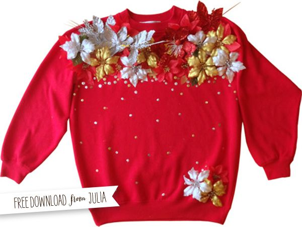 I don't think this is ugly at all.... :D Check out her page! http://juliahwarren.blogspot.com/2012/12/day-15-pretty-ugly-sweater-diy.html