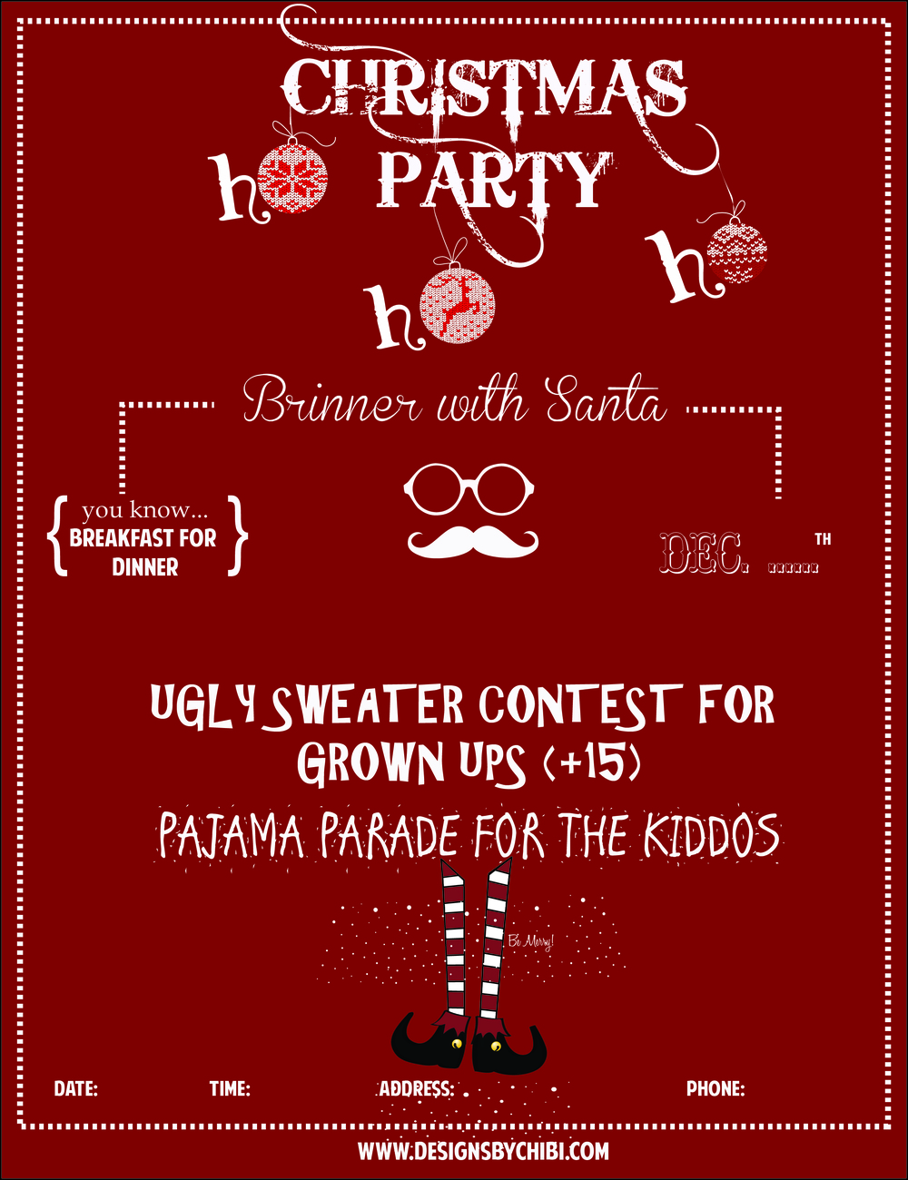 how to throw a christmas party designs by chibi uglychristmassweater party invitation