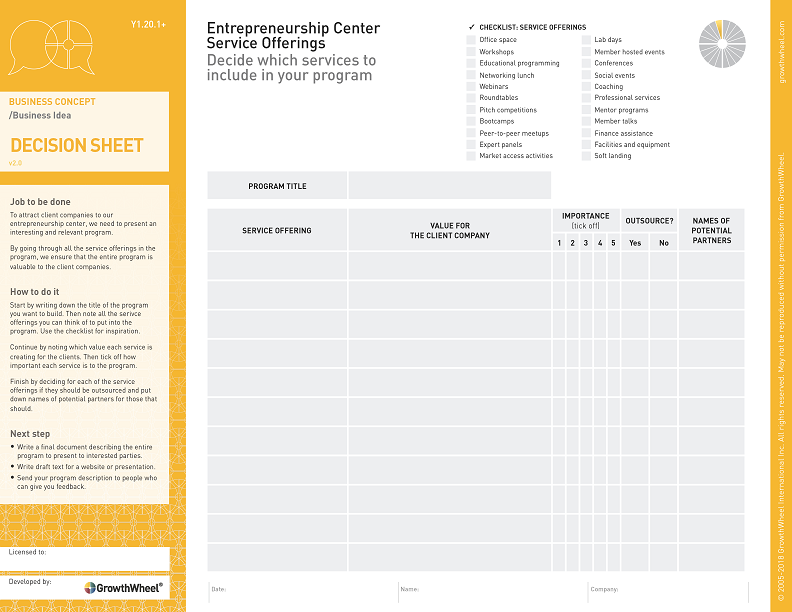 Entrepreneurship Center Service Offerings   Decide which services to include in your program