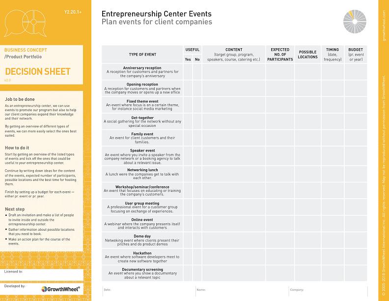 Entrepreneurship Center Events  Plan events for client companies