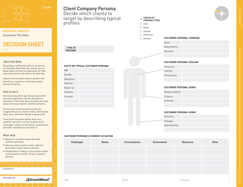 Client Company Persona   Decide which clients to target by describing typical profiles
