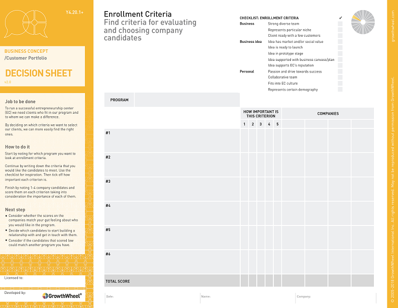 Enrollment Criteria   Find criteria for evaluating and choosing company candidates