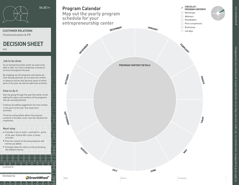 Program Calendar  Map out the yearly program schedule for your entrepreneurship center