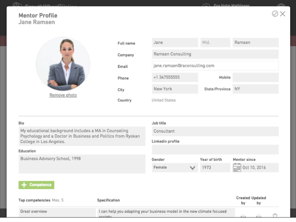 Example of a Mentor Profile on GrowthWheel Online