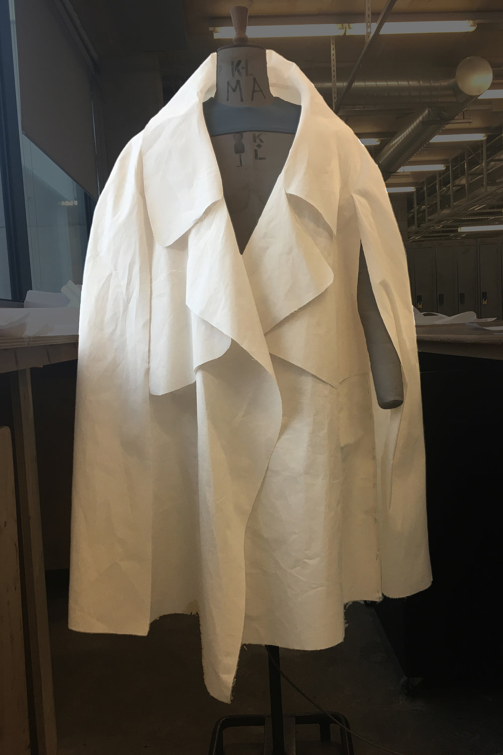 PROCESS: turning the trench's sleeve into a cape's hidden armhole