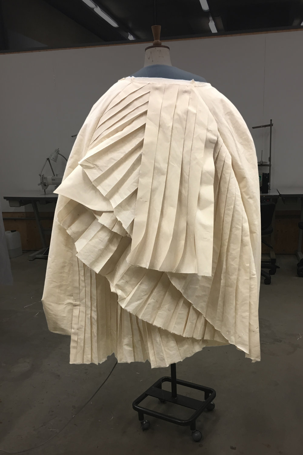 PROCESS: working the layers into the shape of the cape