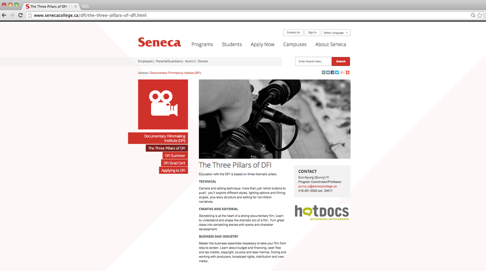 Seneca College Documentary Filmmaking Institute