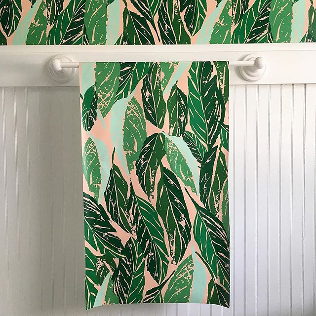 Nana pattern by the uber talented and inspiring @jungalow purchased online at @hyggeandwest this is the perfect wallpaper to transform our boring extra bathroom into a relaxation oasis 💕🌱💕