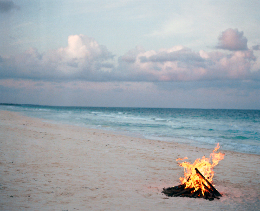 beach fire, tulum, 2005