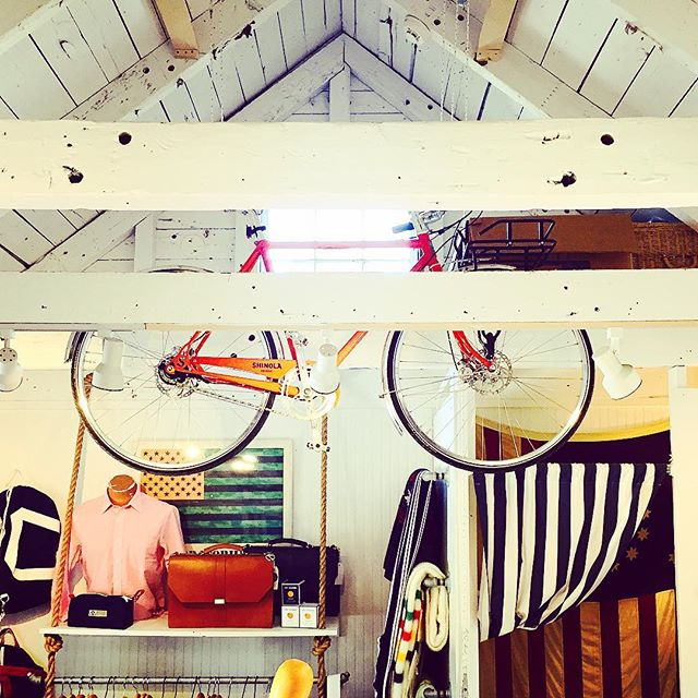 @one.orange keeps things high in #nantucket - a @shinola bike hoisted up in the rafters