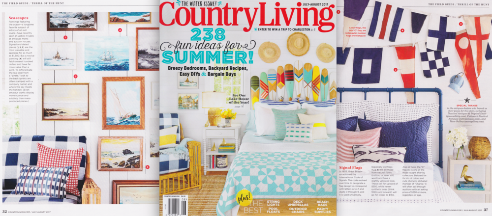COUNTRY LIVING MAGAZINE FEATURES PRODUCT AND VINTAGE SHOPPING ADVICE FROM MATE GALLERY