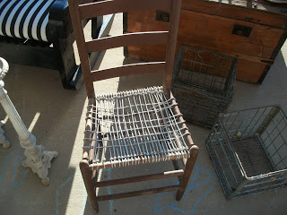 Wire bottom chair and some very heavy metal crates