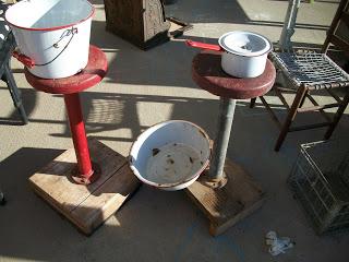 "Misc ""junk""~ enamelware, old metal shop stools"