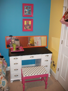 Here it is in Hannah Grace's room. She went right to decorating when we moved it in.
