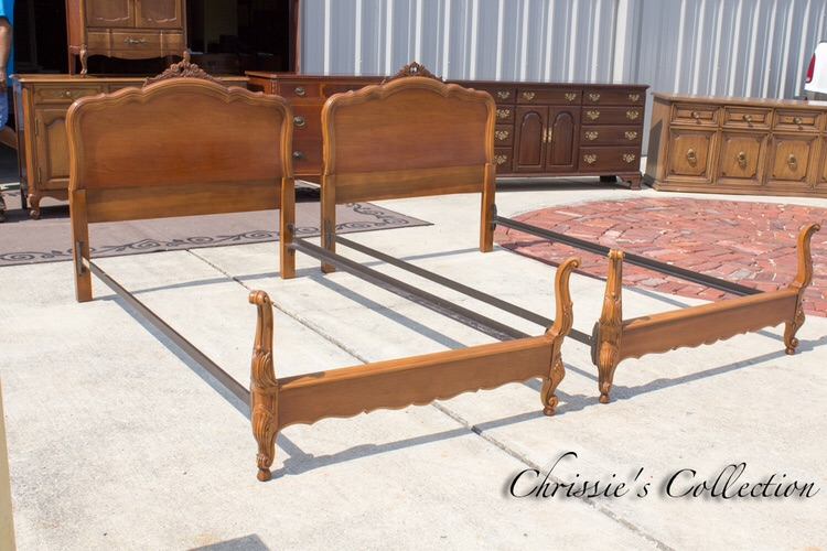 Pair of French Provoncial beds, sweet details $325. More beds here