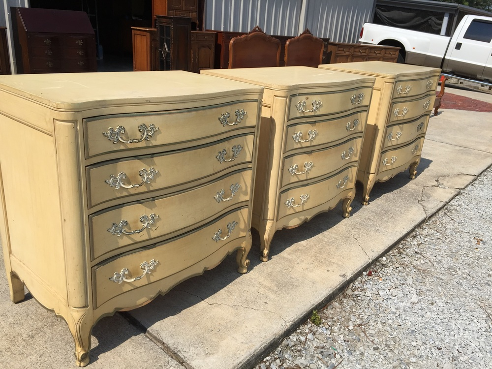 French Provincial bedside chests. These make the ultimate oversized nightstands! $235 ea. See all of our available  chest pieces here