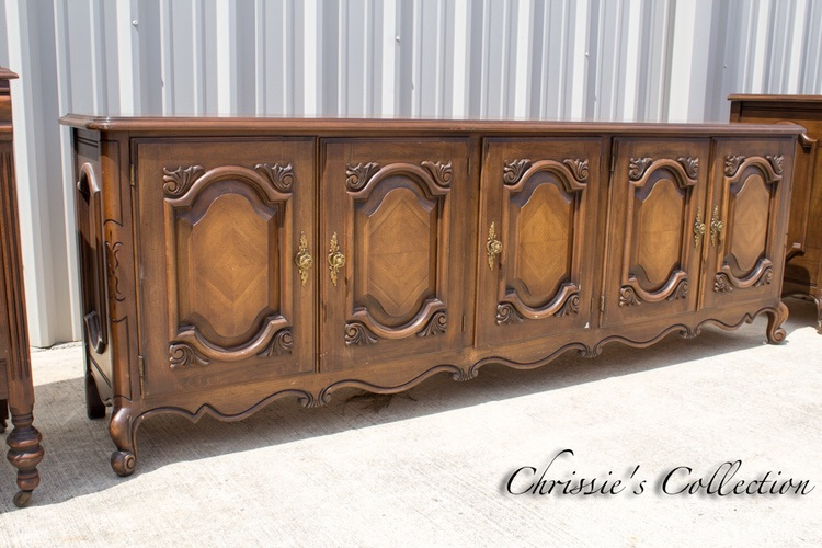 "Gorgeous 84"" long French Provincial credenza. Perfect in a large mudroom or under a television. Beautiful quality $265. More buffets here"