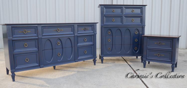 Navy Blue Bedroom Furniture Chrissies Collection - Navy blue dresser bedroom furniture