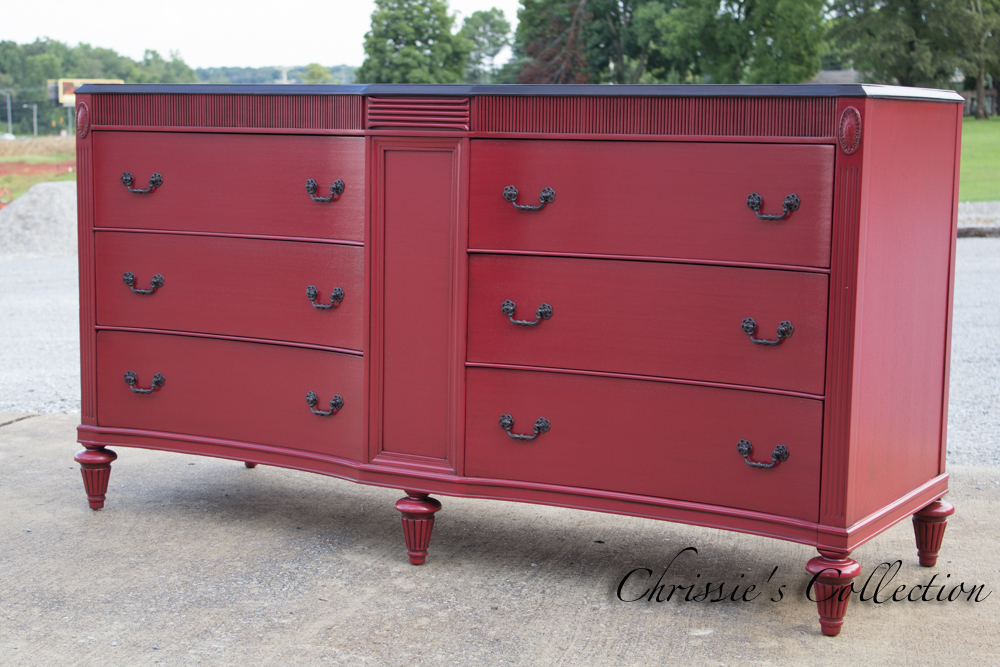 Red Art Deco dresser by Chrissie's Collection