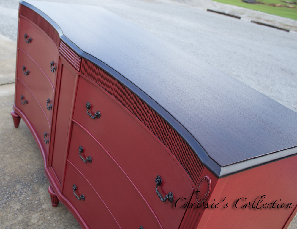 Art Deco dresser painted in Red Velvet