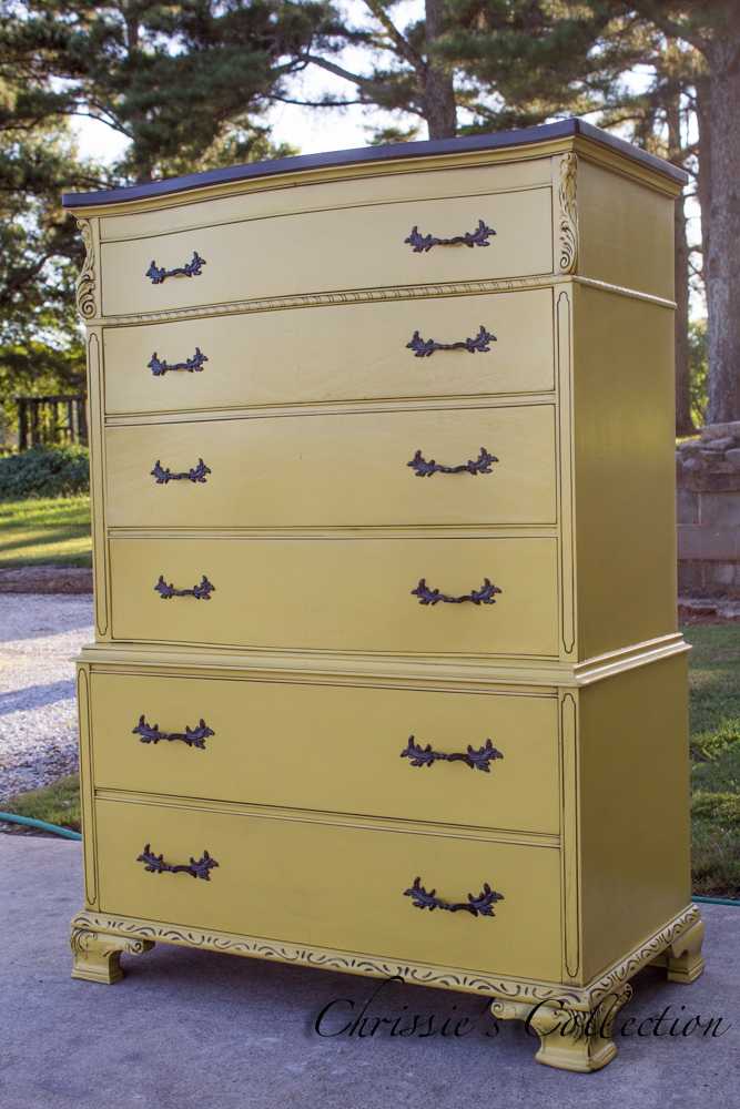 Mustard Yellow Chinoiserie Chest by Chrissie's Collection