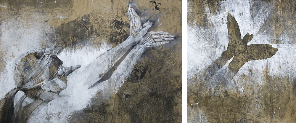 Abandoning Autonomy.   Graphite, charcoal, ink, gesso on kraft paper.  |  Click to enlarge.