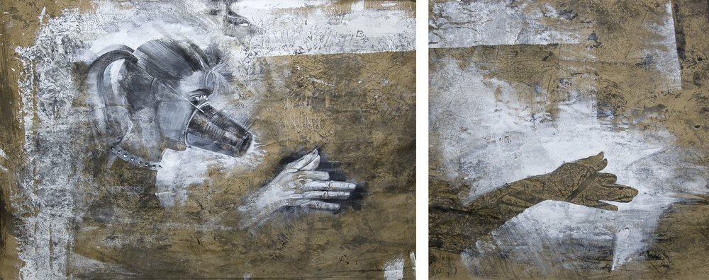 Insatiable Expectations.  Graphite, charcoal, ink, gesso on kraft paper. |  Click to enlarge.