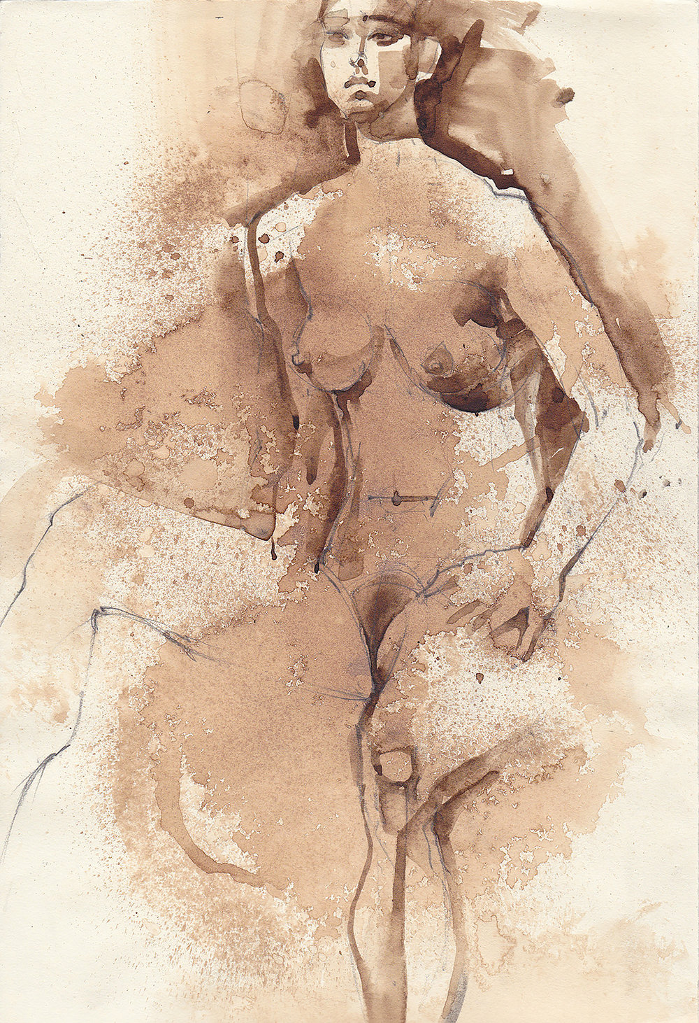 Chrystal. Anticipation.  Walnut ink on paper. Model from Hipbone Studio. 2017