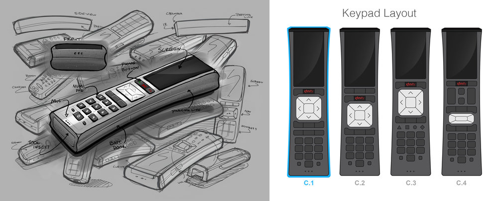 I sketched around the XR5 remote that xfinity currently offers. I wanted to keep  design of the new XRP close to the aesthetic of the existing remote with a few design changes. After I got the form down, I laid out several possible button arrangements making sure I had room for the touchscreen.  I chose the one best suited for this design from a usability Standpoint. From there i brought it into Solidworks and began Modeling