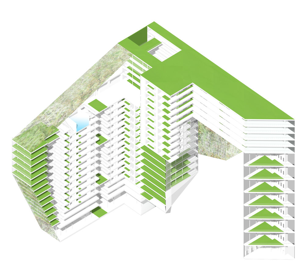 Axonometric view of building; façade removed.