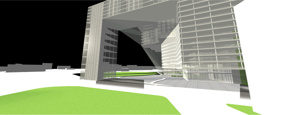 Exterior Rendering - Opening to Waterfront and Green Space