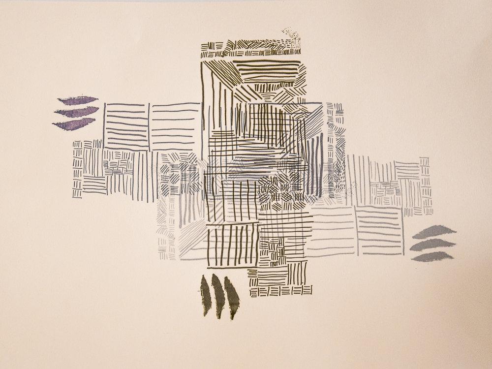 Line:texture::Overlap:depth (Screenprint on paper.)