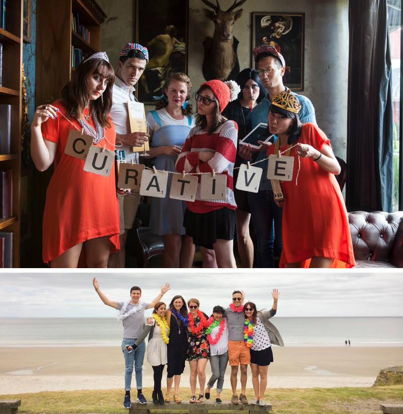 TOP: Curative's 3rd Birthday Party - 'Bibliobash' BOTTOM: Curative away-day over in Waiheke (L-R: Eddy Dever, Meghan Geliza, Jemma Field, Aria Taylor, Jade Tang-Taylor, Kaan Hiini, Eddy Royal)