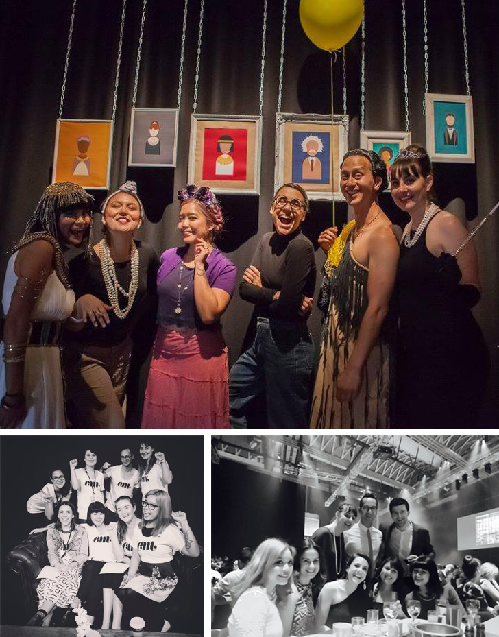 TOP: Curative's 4th Birthday Party - 'Changemakers'  BOTTOM-LEFT: Launch of Em, in partnership with HELP Auckland (L-R: Anna Starr, Jess Holdaway, Jo Mitchell, Jade Tang-Taylor, Kaan Hiini, Janelle Collins, Eddy Royal & Meghan Geliza) BOTTOM-RIGHT: #Winning at the Best Awards 2016 (L-R: Meghan Geliza, Anna Starr, Eddy Royal, Jess Holdaway, Kaan Hiini, Jo Mitchell, Eddy Dever, Jade Tang-Taylor)