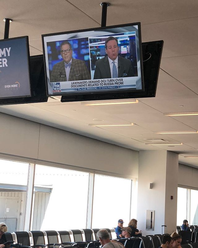 A first: #FoxNews playing in an airport terminal. America gets its wish!!