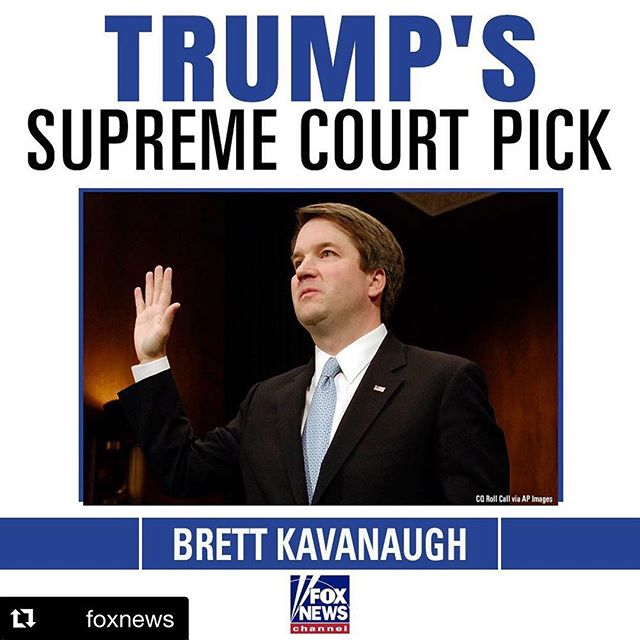 #Repost @foxnews  BREAKING: President @realdonaldtrump announces Brett Kavanaugh as his new Supreme Court nominee.