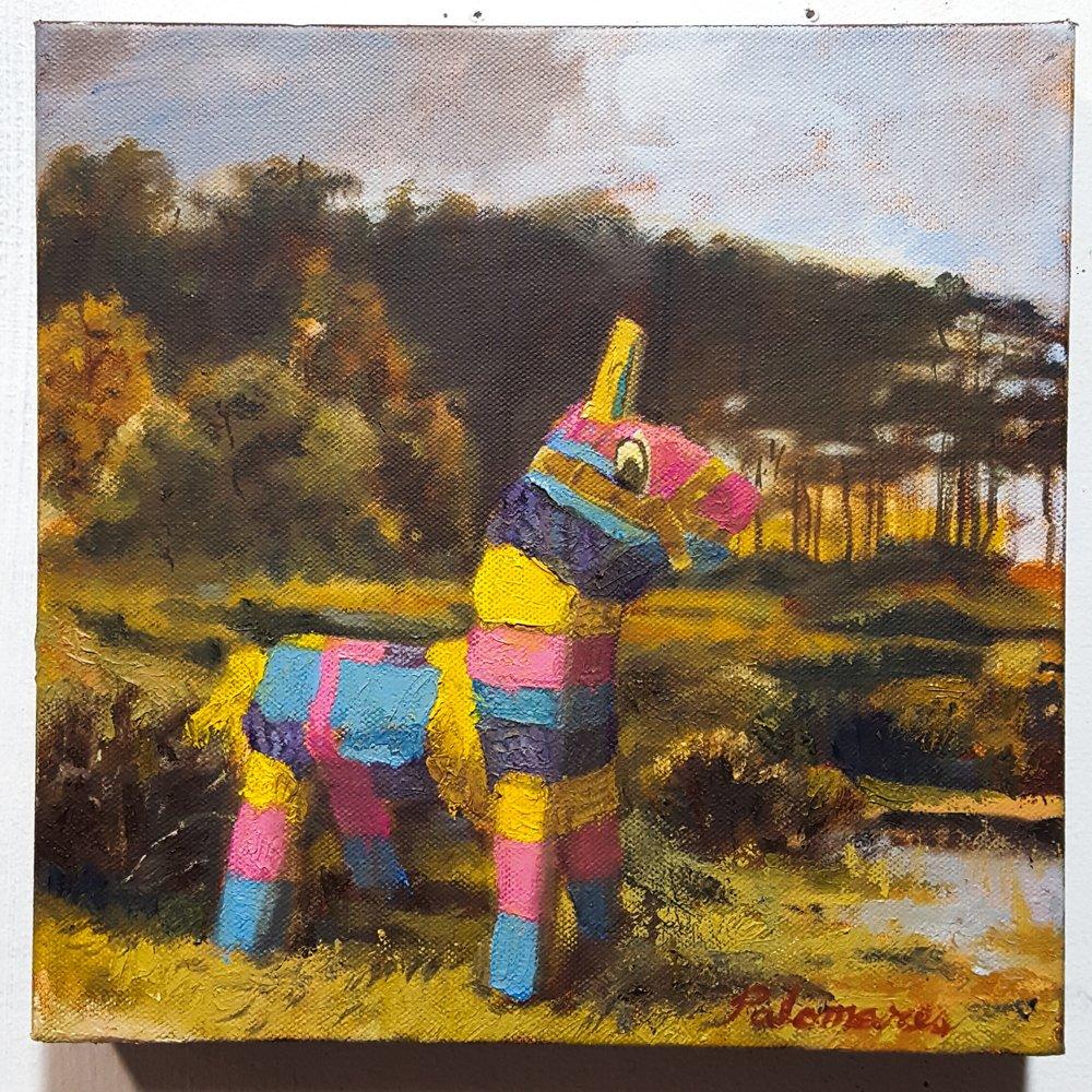 Piñata in English landscape.