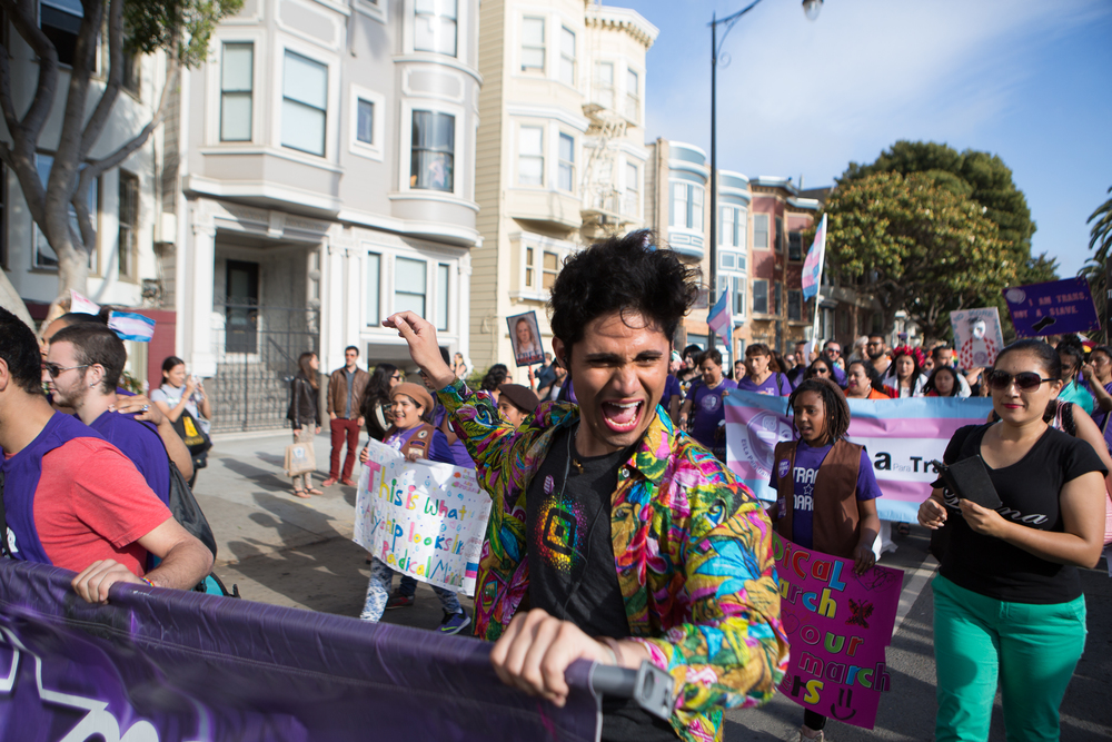Shane Zaldivar participates in the 12th annual Trans March, a trans pride event, on Dolores Street in San Francisco, California, on Friday, June 26, 2015. There were an estimated 7,000 participants. The march began at Mission Dolores Park and headed to UN Plaza.