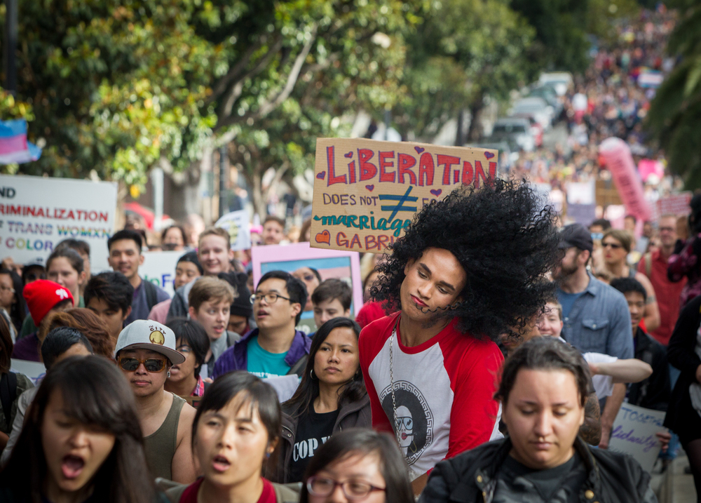 The 12th annual Trans March, a trans pride event, is seen on Dolores Street in San Francisco, California, on Friday, June 26, 2015. There were an estimated 7,000 participants. The march began at Mission Dolores Park and headed to UN Plaza.