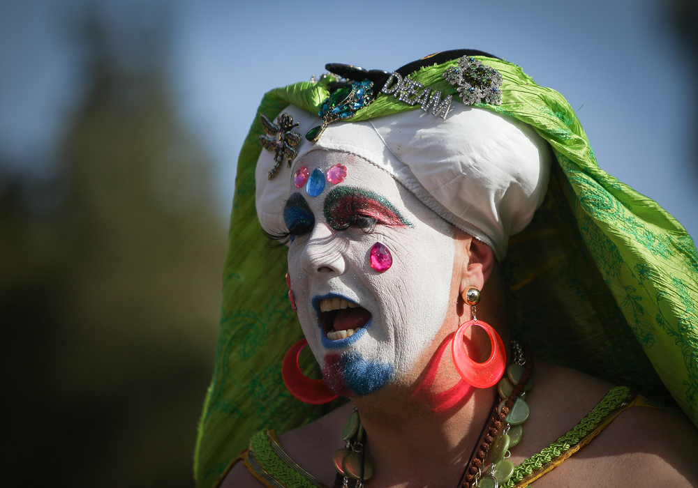 """Sister Merry Peter"" of the Sisters of Perpetual Indulgence participates in the 12th annual Trans March, a trans pride event, on Dolores Street in San Francisco, California, on Friday, June 26, 2015. There were an estimated 7,000 participants. The march began at Mission Dolores Park and headed to UN Plaza."