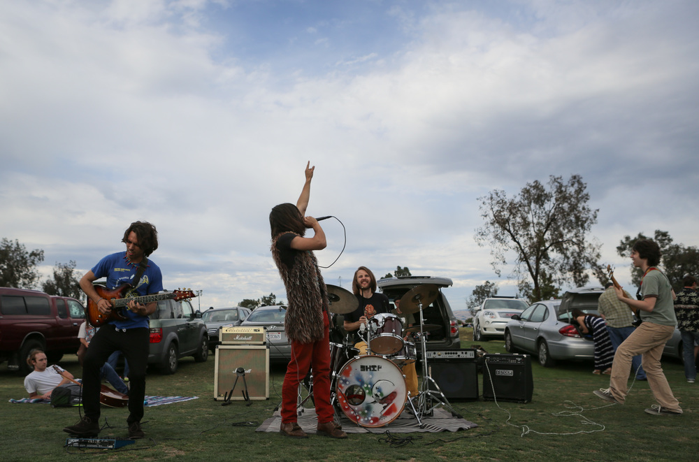 """The band """"Ship of the Rising Sun"""" performs outside Levi's Stadium in Santa Clara, California, before the Grateful Dead's first show on the """"Fare Thee Well"""" tour at on Saturday, June 27, 2015."""