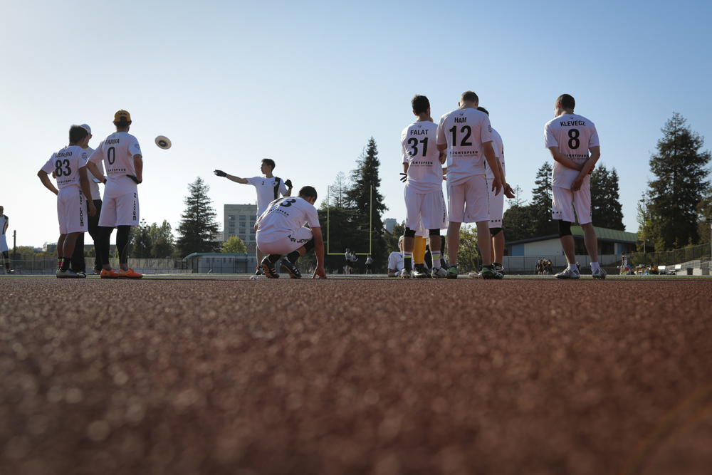 The San Jose Spiders warm up before an ultimate frisbee game against the San Francisco FlameThrowers at Laney College Football Field in Oakland, CA, on Saturday, July 18, 2015.