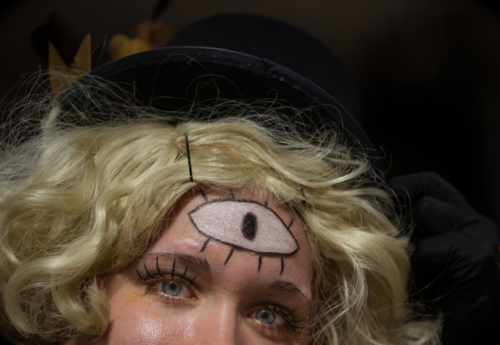"Raven Conley is seen dressed as character Bill Cipher from ""Gravity Falls"" at Japantown's SF Anime Festival & Cosplay gathering in San Francisco, California, on Saturday, July 18, 2015. Anime is the term for Japanese animated productions and cosplay is the practice of dressing in costume as a character."