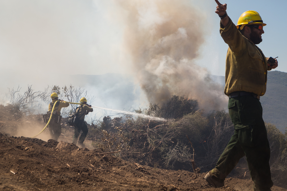 Firefighters from a hot-shot crew battle the Wragg Firewest of Pleasants Valley Road in western Solano County, Calif., on Wednesday, July 29, 2015.