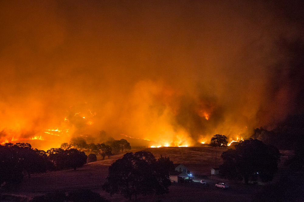 The Rocky Fire blazes towards homeson Morgan Valley Road near Lower Lake, Calif., on Wednesday, July 29, 2015.