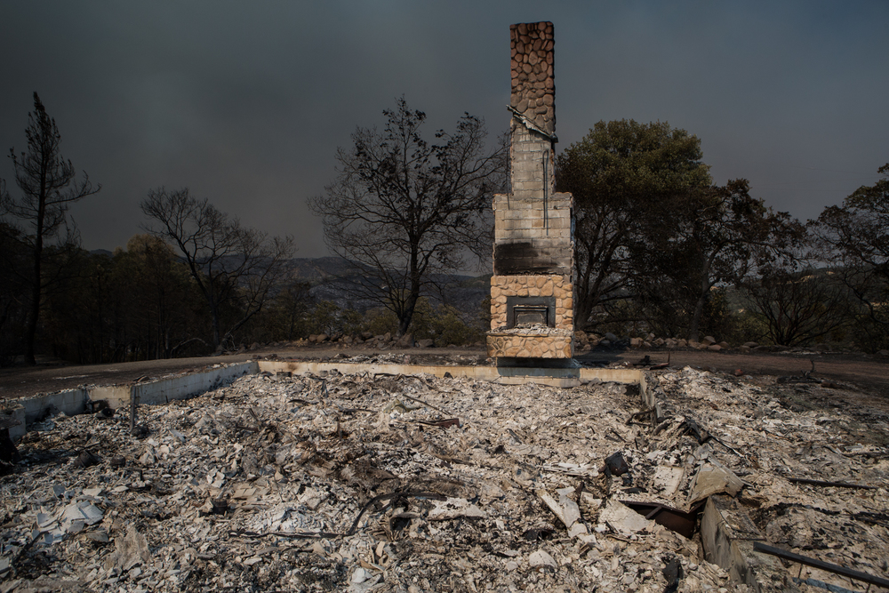 The remains of a destroyed home are seen offMorgan Valley Road near Lower Lake, Calif., on Saturday, Aug.1, 2015.