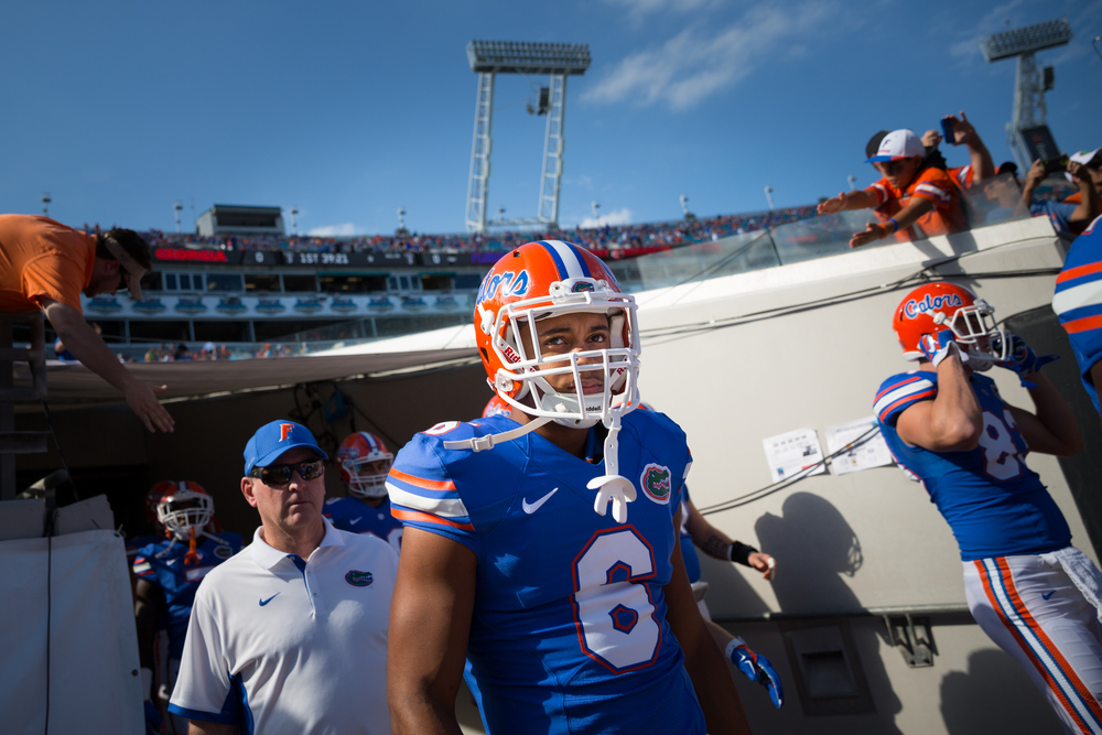 Florida Gators defensive back Quincy Wilson (6) takes the field for warmups before a game against the Georgia Bulldogs at EverBank Field in Jacksonville, Fla. on Saturday, Oct. 31, 2015.